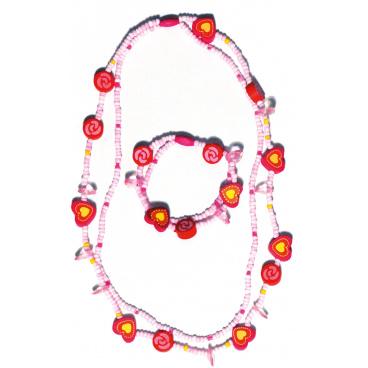 Woody Souprava dvojitý náhrdelník a náramek - Srdíčka a kolečka