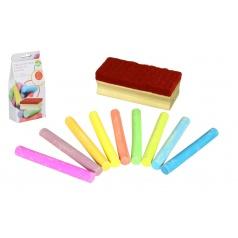 Teddies Křídy barevné na tabuli 12 ks + houbička v krabičce 9x19x5cm