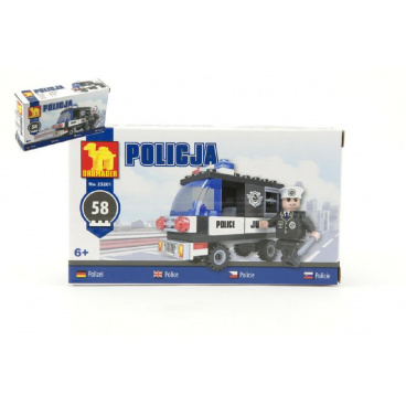 Dromader Stavebnice Dromader Policie Auto 23201 58ks v krabičce 17x10x4,5cm