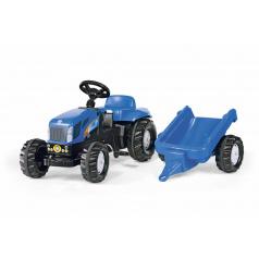 Šlapací traktor New Holland TVT190 s vlečkou