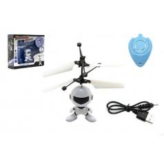 Vrtulníkový robot plast 13x11cm s USB kabelem na nabíjení svítící asst 2 barvy v krabičce