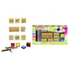 Razítka s poduškami + pastelky v krabičce 24x14cm