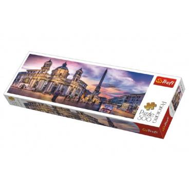 Trefl Puzzle Piazza Navona, Řím panorama 500 dílků 66x23,7cm v krabici 40x13x4cm