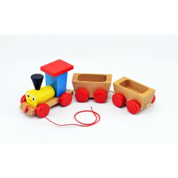 Miva Vlak + 2 vagónky dřevo tahací barevný celková délka 43cm v krabici 12m+