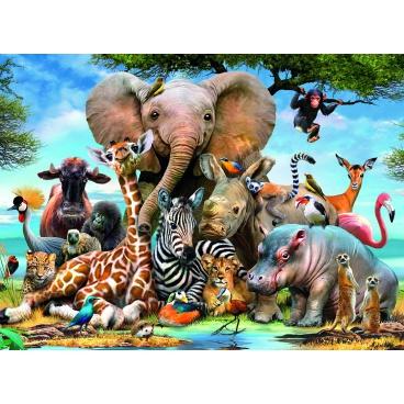 Ravensburger puzzle Afričtí přátelé 300d