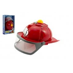 Teddies Helma přilba hasič plast 28cm na baterie se světlem se zvukem v krabici 22x33x6cm