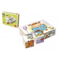 TOPA Kostky kubus Hezký den dřevo 12ks v krabičce 16,5x12x4cm