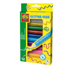 SES Třpytivé kreslící lepidlo, 12 barev