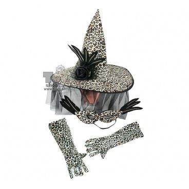 klobouk čarodějnice + rukavice a maska