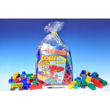 LORI Stavebnice LORI 250 plast 250ks v plastovém pytli 30x45x22cm