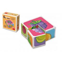 TOPA Kostky kubus Ovoce dřevo 4ks v krabičce 8,5x8,5x4cm