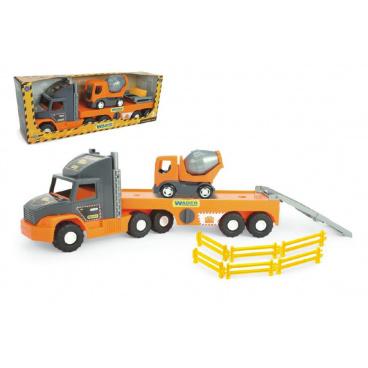 Wader  Auto nákladní Super Tech Truck návěs 78cm + auto domíchávač 24cm plast v krabici 78x28x20cm