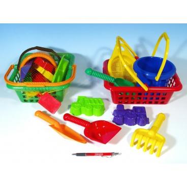 LORI Košík sada - 2 bábovky rýč lopatka hrabičky sítko kbelík nákupní košík plast 12m+