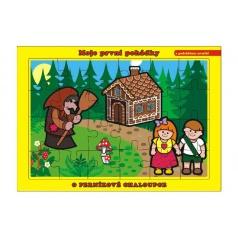 Teddies Puzzle deskové O Perníkové Chaloupce 26x17cm 24 dílků Moje první pohádky