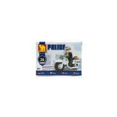 Dromader Stavebnica Dromader Policie Motorka 26ks v krabičce 10x7x4,5cm
