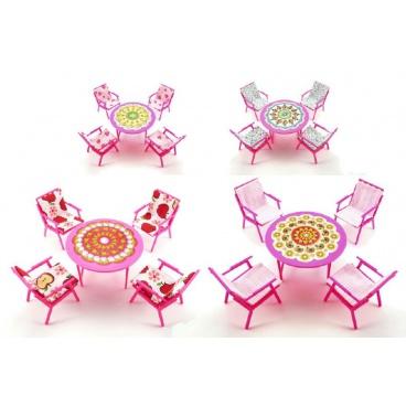 Teddies Nábytek pro panenky stůl + 4 židle plast 17cm v sáčku, 2 druhy