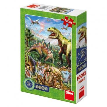 Dino Ostatní Dino dětské puzle Svět dinosaurů 100DXL neon