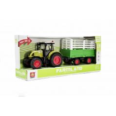 Teddies Traktor s vlekem plast 39cm na setrvačník na baterie se zvukem se světlem v krabici 42x19x12cm