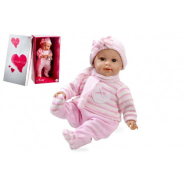 Arias Panenka/miminko vonící 45cm růžové šaty měkké tělo plačící na baterie v dárkové krabici