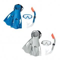 Bestway Šnorchlovací set - ploutve, brýle, šnorchl (šedý/modrý)