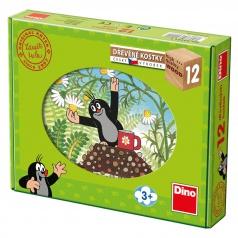 Dino dřevěné obrázkové kostky Krtek a přátelé 12 kostek