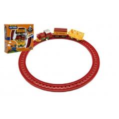 Teddies Vlak na klíček + 2 vagónky s kolejemi plast 7cm asst 2 barvy v krabičce 18x16x4cm