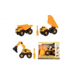 Stavební stroje auto šroubovací plast 15cm asst 3 druhy, v krabičce 18x13x10cm