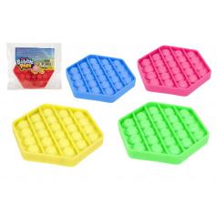Teddies Bubble pops - Praskající bubliny silikon antistresová společenská hra, výběr ze 4 barev, 11x11cm