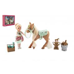Teddies Panenka/žokejka 14cm kloubová s koněm plast s doplňky v krabici 30x23x6cm