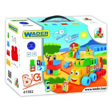 WADER Kostky stavebnice Middle Blocks plast 70ks v krabici 40x40x15cm 12m+