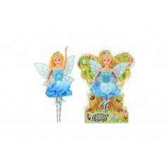 Teddies Panenka víla s křídly modré šaty plast 30cm v blistru