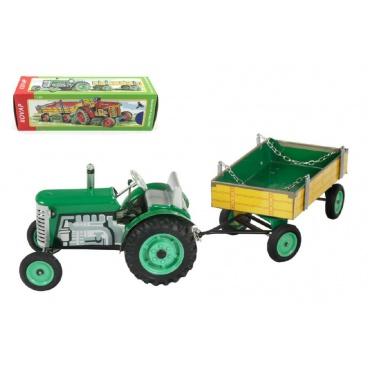 Kovap Traktor Zetor s valníkem zelený na klíček kov 28cm Kovap v krabičce