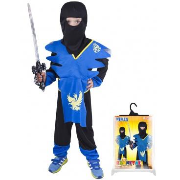 Dětský karnevalový kostým Ninja modro-žlutý velikost S