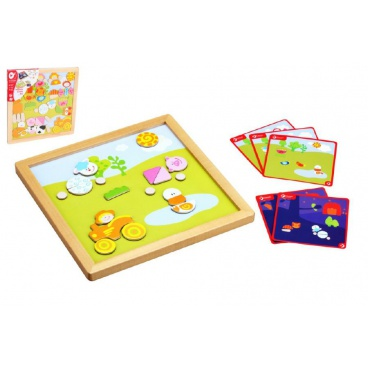 Teddies Magnetická tabulka dřevo 25x25x1,2cm oboustranná 53ks