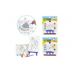 Teddies Mini plátno 2ks 15x10cm se stojánkem 16x8cm 6 druhů se  štětcem a 6 barvami na kartě