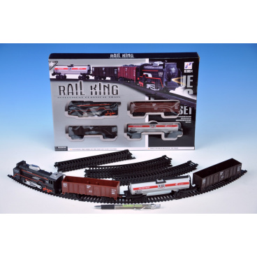 Wiky Vlak s kolejemi plast 104x68cm na baterie se světlem se zvukem v krabici