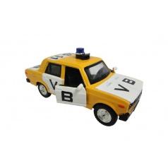 Auto veterán policie VB Lada 2106 1:32 kov 12cm na baterie se světlem se zvukem v krabičce