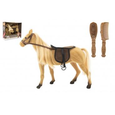 Teddies Kůň česací velký fliška s doplňky plast 38cm v krabici 40x34,5x12cm