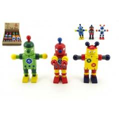 Teddies Robot dřevo 12cm asst 6 druhů, od 18 měsíců
