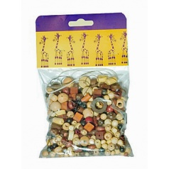 Detoa Mix dřevěných perlí 100g hnědo-přírodní