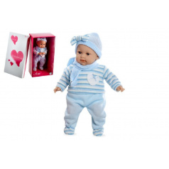 Arias Panenka/miminko vonící 45cm modré šaty plačící měkké tělo na baterie v krabici