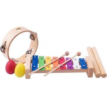 Woody Muzikální set ( xylofon, tamburína, dřívka, 2 maracas vajíčka )