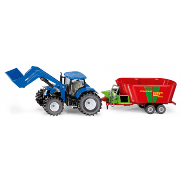 SIKU Farmer - traktor New Holland s předním nakladačem a vlekem, 1:50