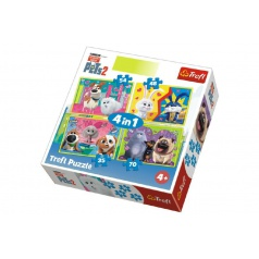 Trefl Puzzle 4v1 Tajný Život Mazlíčků 2 v krabici 28x28x6cm