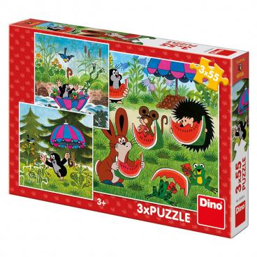 Dino Ostatní Dino dětské puzzle Krteček a paraplíčko 3x55D
