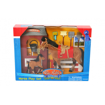 Mac Toys Kůň 20 cm a 10 cm se stájí a příslušenstvím