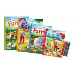 FONI Book Omalovánky+aktivity/Maľovanky+aktivity Na farmě/Na farme 4ks + pastelky CZ + SKverze v sáčku 21x29cm