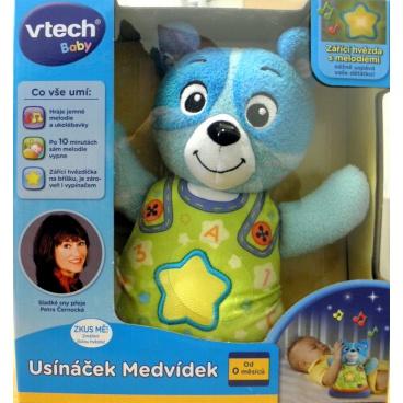 VTech Usínáček Medvídek - modrý pro nejmenší plyš 22cm na baterie se zvukem se světlem od 0 měsíců