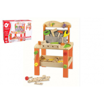 teddies Stůl/Ponk s nářadím dřevo 38ks 40x56x28cm v krabici 42x30x13cm