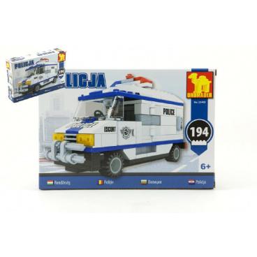 Dromader Stavebnice Dromader Policie Auto Dodávka 23405 194ks v krabici 22x15x4,5cm